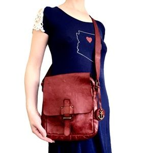 Harbour 2nd Lava Red Leather Crossbody Bag Purse